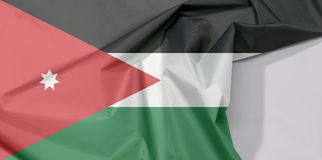 Jordanowska tkaniny flaga krepa i zagniecenie z biel przestrzenią obraz stock
