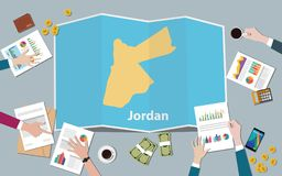Jordanowskiego kraju narodu wzrostowa drużyna dyskutuje z fałd map widokiem od wierzchołka ilustracja wektor