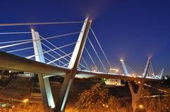 Jordans biggest bridge at night. Amman at sunset over the bridge Stock Photo
