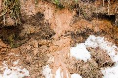 Jordbakgrund och snö Lera och snö Glay och snö Brunt plogad jord Våt lera Smältt smutssnö på ett fält Arkivfoto