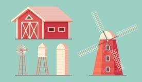 Jordbruk byggande lantgård Dricksvattentorn Väderkvarnwaterpump och silosrorageladugård för havre och skörd royaltyfri illustrationer