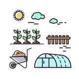 Jordbruk natur Vektoruppsättning av symboler, illustration i stilen av lägenheten Royaltyfria Bilder