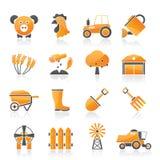 Jordbruk- och lantbruksymboler Arkivbild
