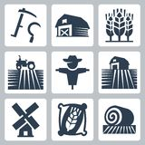 Jordbruk- och lantbrukvektorsymboler Royaltyfri Bild