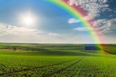 Jordbruks- landskap med regnbågen Royaltyfri Fotografi