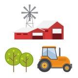 jordbruks- maskiner Lantliga landskap vektor illustrationer