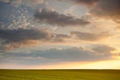 Jordbruks- solnedgång Arkivfoton