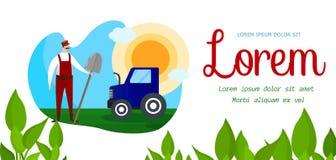 Jordbruksarbetareteckenanseende nära traktorbaner vektor illustrationer