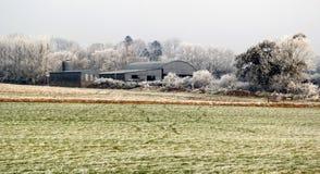 Jordbruksmark i tidig vinter royaltyfri bild