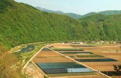 Jordbruksmark och ström Arkivfoto