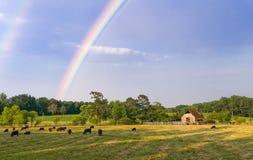 Jordbruksmarkregnbåge Arkivbilder