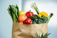 Jordbruksprodukter i livsmedelsbutikpåse Arkivbild