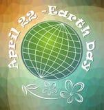 Jorddag, april 22, affischtavla eller baner med stiliserad grön planete på modern polygonal bakgrunds- och grungeblommateckning Royaltyfria Bilder