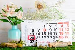 Jorddag för mars 20 på kalender Arkivbilder