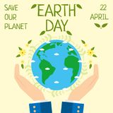 Jorddagen, 22 April, sparar vår planet Royaltyfria Foton