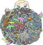 Jorden och barnet Arkivbilder