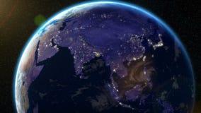 Jordens omloppsbananatt - stadsljus från utrymme (Asien) stock illustrationer