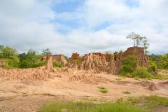 Jorderosion av regn och vind kallade Sao Buller Na Noi, Nan Arkivfoto