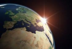 jordEuropa planet Fotografering för Bildbyråer