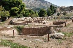 Jordfästninggrav i Mycenae fotografering för bildbyråer