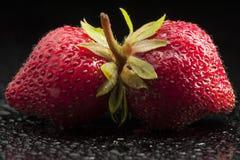 Jordgubbar frukt som är röd, makro, minimalist som är våt, Royaltyfri Foto