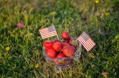 Jordgubbar i en bunke med amerikanska flaggan arkivfoto