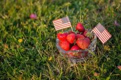 Jordgubbar i en bunke med amerikanska flaggan royaltyfri foto