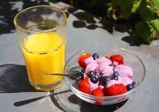 Jordgubbar, jogurt och fruktsaft Arkivbild