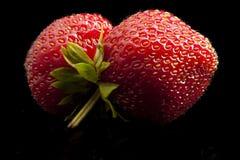 Jordgubbar mun, minimalist, frukt som är röd, makro Arkivbild