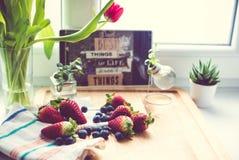 Jordgubbar och blåbär Royaltyfri Fotografi