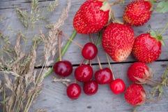 Jordgubbar och körsbär med gräs på trä Arkivfoto