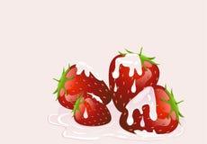 Jordgubbar och kräm Fotografering för Bildbyråer