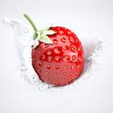 Jordgubbar och kräm stock illustrationer