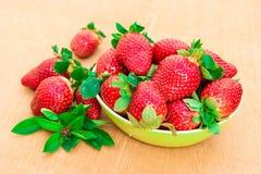 Jordgubbar Organisk Closeup med mintkaramellen, lantliga naturliga non GMO Fotografering för Bildbyråer