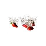 Jordgubbar plaskar på vatten som isoleras Arkivfoton