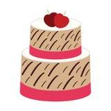 Jordgubbe Cherry Cake på vit bakgrund Arkivbilder