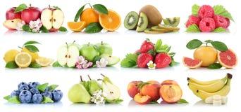 Jordgubbe för blåbär för banan för äpplen för äpple för fruktsamling som orange isoleras på vit royaltyfri fotografi