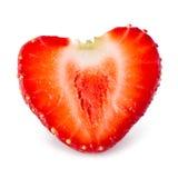 jordgubbe Halva av bäret som en hjärta som isoleras på vit Arkivfoton