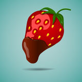 Jordgubbe i choklad stock illustrationer