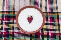 Jordgubbe i en bunke av yoghurt arkivfoto