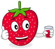 Jordgubbe med en ny sammanpressad fruktsaft Royaltyfri Bild