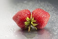 Jordgubbe mun, frukt som är röd, makro, friskhet, w Royaltyfria Foton