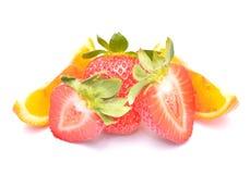 Jordgubbe och apelsin royaltyfri fotografi