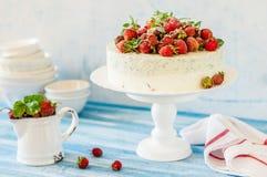 Jordgubbe och Basil Ice Cream Cake arkivbild