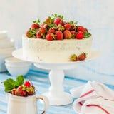 Jordgubbe och Basil Ice Cream Cake royaltyfria foton