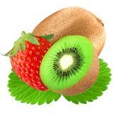 jordgubbe och kiwi med bladet på vit Arkivfoton