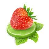 Jordgubbe och limefrukt royaltyfri fotografi