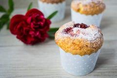 Jordgubbe- och vaniljmuffin Arkivfoton