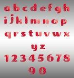 Jordgubbealfabet och nummer royaltyfri illustrationer