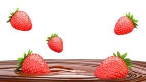 Jordgubbedroppar in i smälter choklad på en vit bakgrund 3 vektor illustrationer